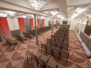The Coach Room at the Bedford Swan Hotel laid out for a wedding ceremony