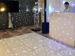DJ and dancefloor in the Coach Room at the Bedford Swan Hotel