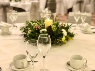 Glasses on table at a wedding reception