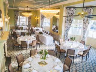 The State Room at the Bedford Swan Hotel laid out for wedding breakfast