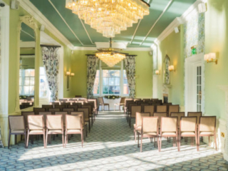 The State Room at the Bedford Swan Hotel laid our for a wedding ceremony